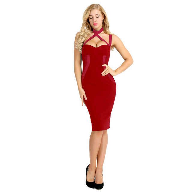 Ladies Cocktail Dress With V Neck Knee Length