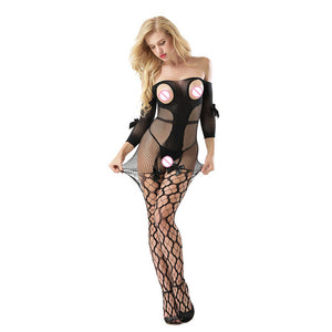 Sexy Open Breasts Erotic Tights With Open Crotch Fishnet Bodystocking