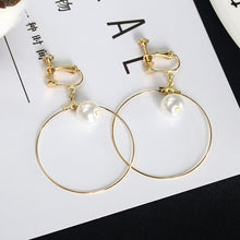 Load image into Gallery viewer, White Simulated Pearl Ball Ear Clip & Big Loop Golden
