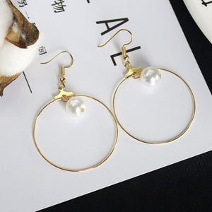 White Simulated Pearl Ball Ear Clip & Big Loop Golden