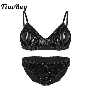 Wetlook Faux Leather Ruffle Crossdressing Lingerie Set