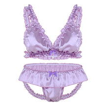 Load image into Gallery viewer, Satin Elastic Ruffle Crossdressing Lingerie Set