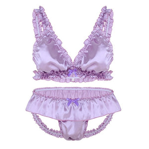 Satin Elastic Ruffle Crossdressing Lingerie Set