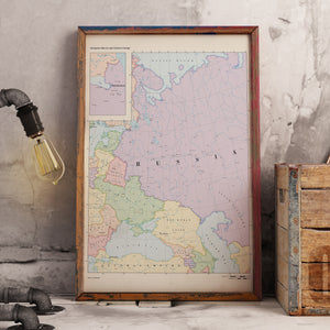 Ruskie Business Maps - Russia & Eastern Europe -  Framed