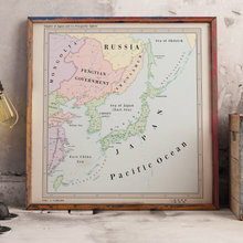 Load image into Gallery viewer, Ruskie Business Maps - the Japanese Empire and Co-Prosperity Sphere - Framed