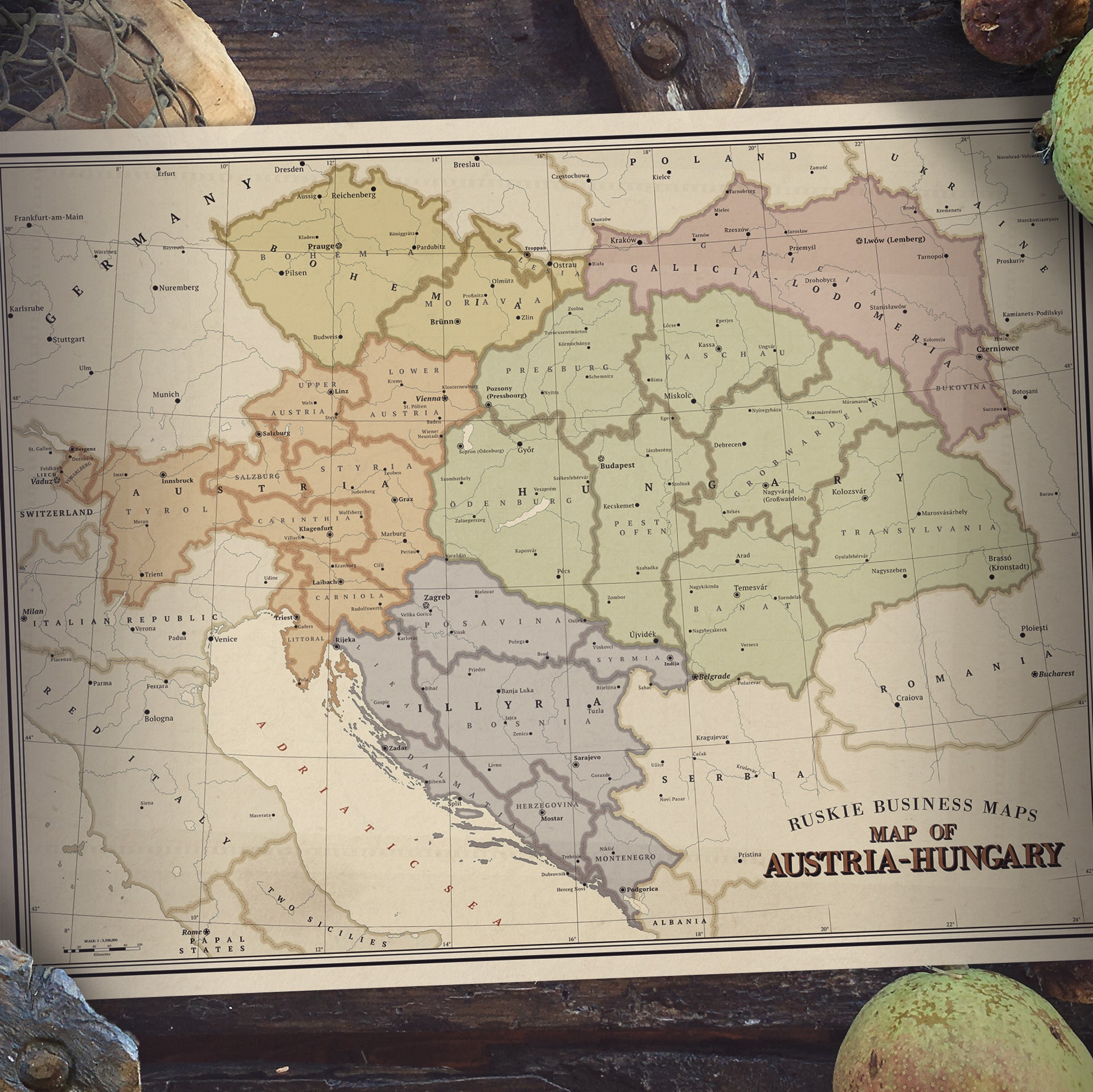 Picture of: Ruskie Business Austria Hungary Map Poster Kaiser Cat Cinema Webshop