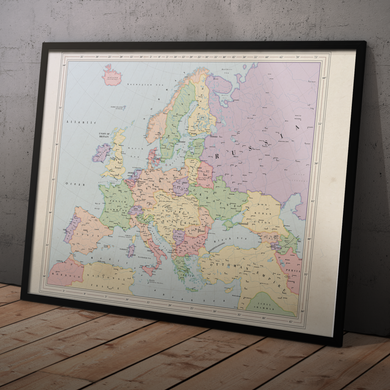 Ruskie Business Europe Map - Framed (Ruskie Style)