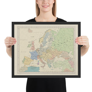 Ruskie Business Europe Map - Framed (Old Atlas Style)