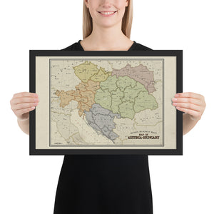 Ruskie Business - Austria-Hungary Map - Framed