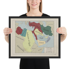 Load image into Gallery viewer, Red Leather Cartography - Ottoman Empire & the Middle-East map - Framed