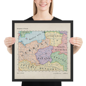 Ruskie Business Maps - Kingdom of Poland - Framed