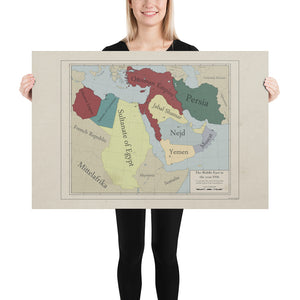 Red Leather Cartography - Ottoman Empire & The Middle-East map - Poster