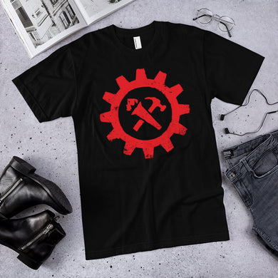 Syndicalist Gear Shirt - Red on Black