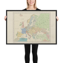 Load image into Gallery viewer, Ruskie Business Europe Map - Framed (Old Atlas Style)