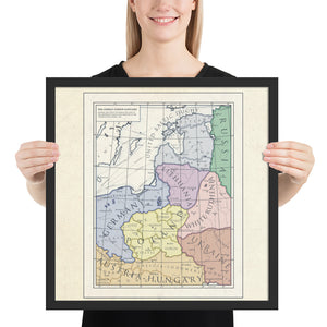 Milites Maps - German Eastern Border - Client States - Framed