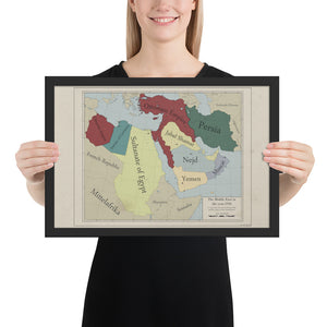 Red Leather Cartography - Ottoman Empire & the Middle-East map - Framed