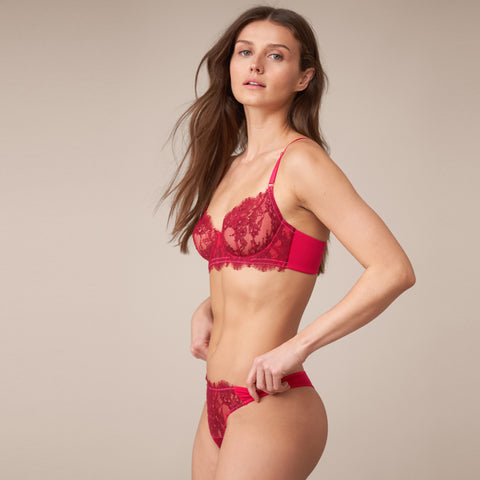 Entice Balconette Bra in Hot Tamale/Very Berry