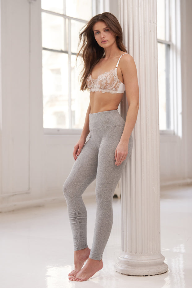 Entice Balconette Bra in White/Nylon & Dreamer Ribbed High-Waist Legging Heather Grey