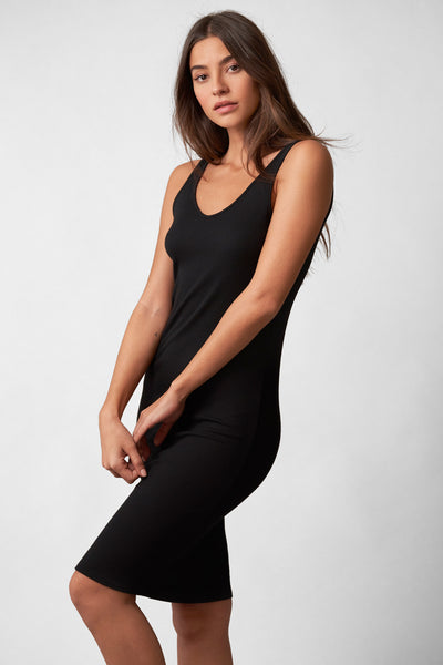 Daydream Midi Tank Slip in Black Side View