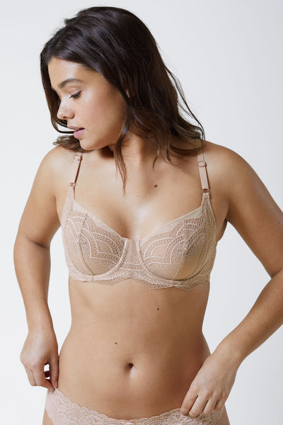 Empower Full Balconette Bra in Nylon/Sheer Front View