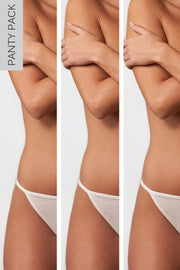 Fresh One Size Cotton Thong 3-Pack in White/White/White Close Up Panty View
