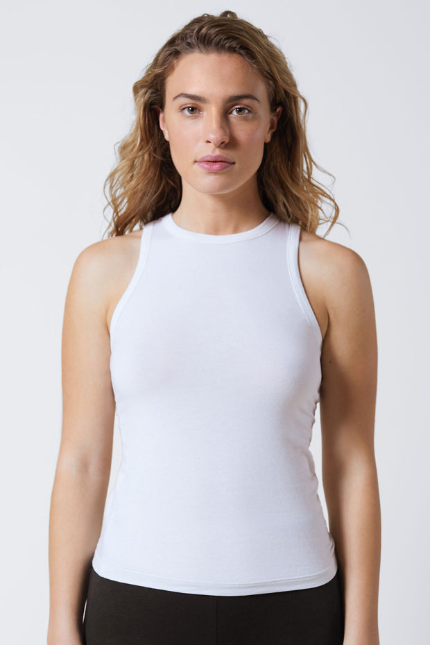 Fresh Cotton Racerback Tank in White Front View 2