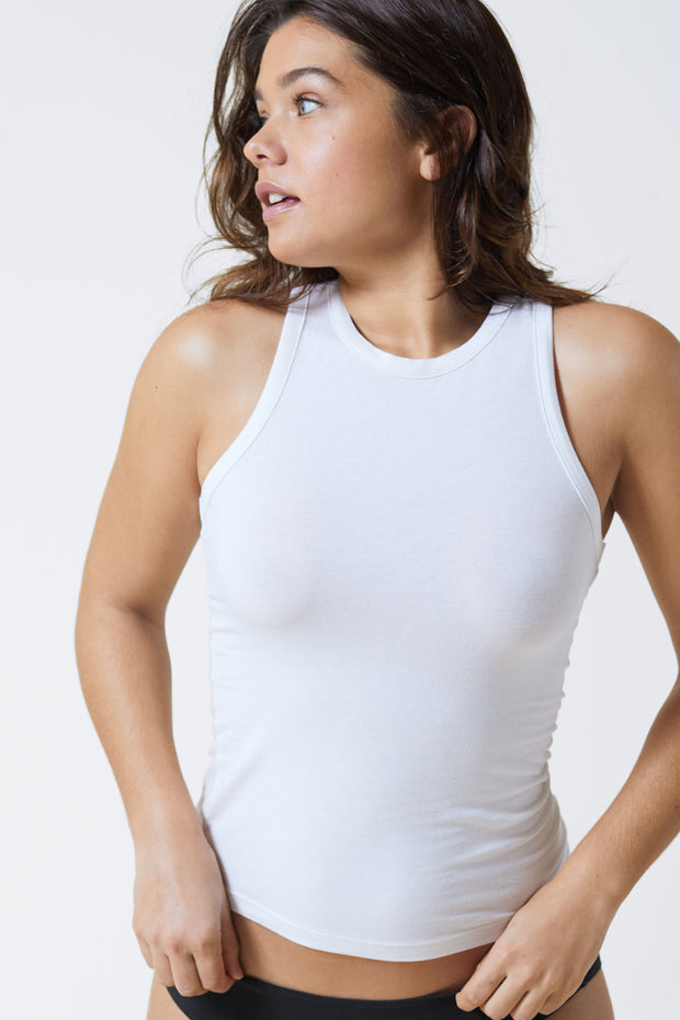 Fresh Cotton Racerback Tank in White Front View