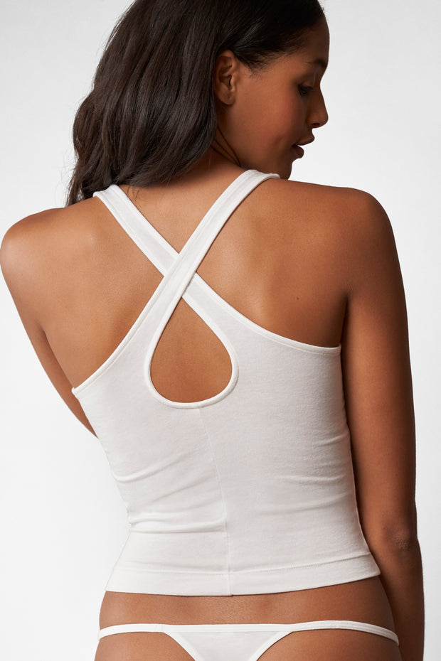 Fresh Criss Cross Tank in White Back View