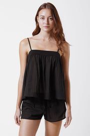 Innocent Cotton Cami & Cotton Lounge Short Set in Black Front View