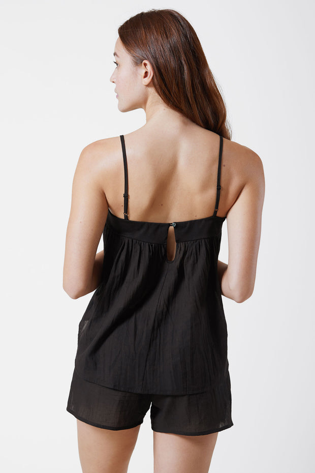 Innocent Cotton Cami & Cotton Lounge Short Set in Black Back View