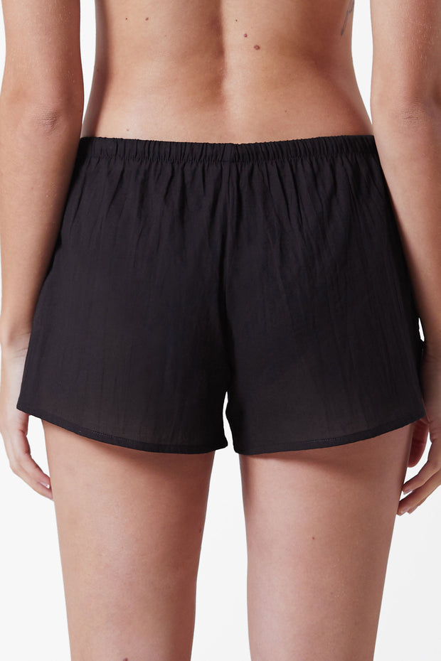 Innocent Cotton Lounge Short in Black Back View