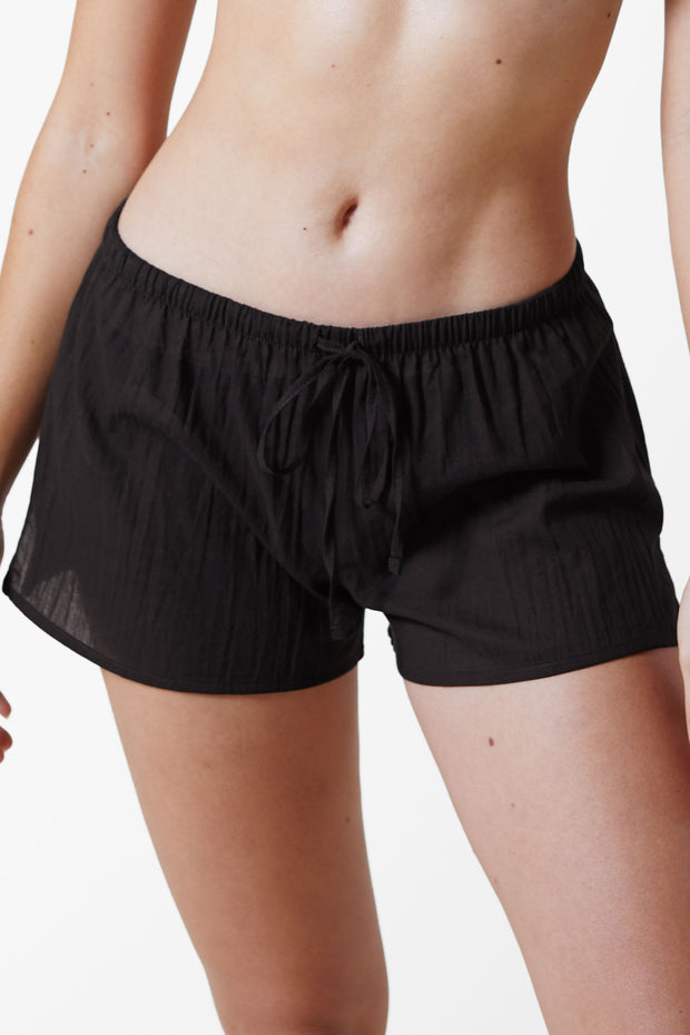 Innocent Cotton Lounge Short in Black Front View