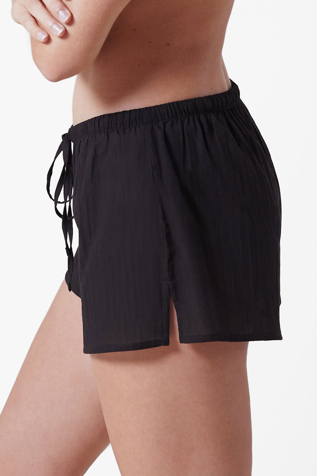 Innocent Cotton Lounge Short in Black Side View