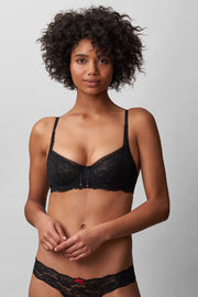 Minx Balconette Bra in Black Front View 2