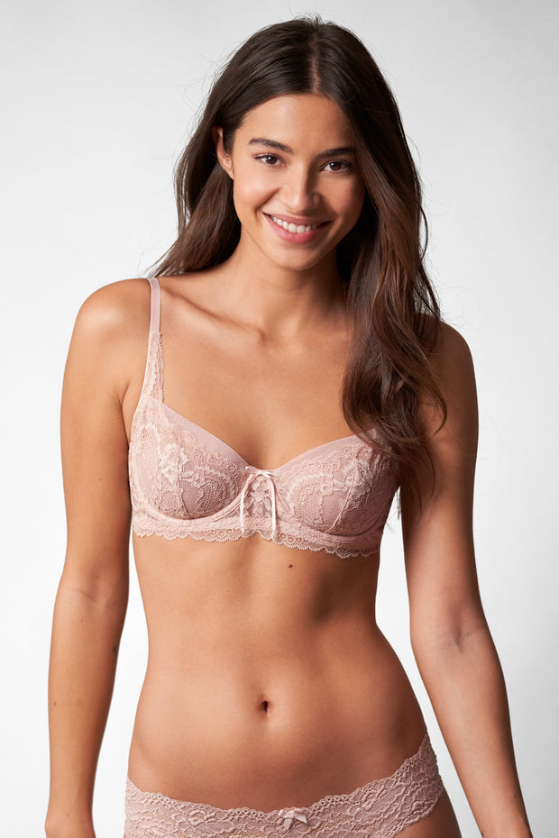 Minx Balconette Bra in Cashmere/Blush Front View