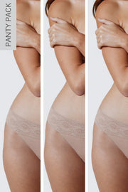 Petal One Size Cotton Thong 3-Pack in Cashmere/Cashmere/Cashmere Close Up Panty View
