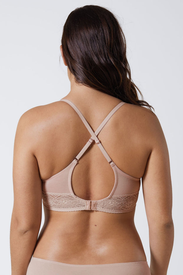 Petal Multi-Way Cotton T-Shirt Bra in Cashmere X-Back View