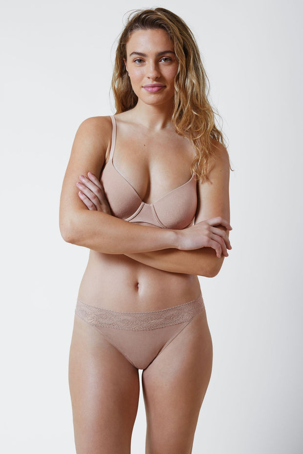 Petal Multi-Way Cotton T-Shirt Bra in Cashmere Front View