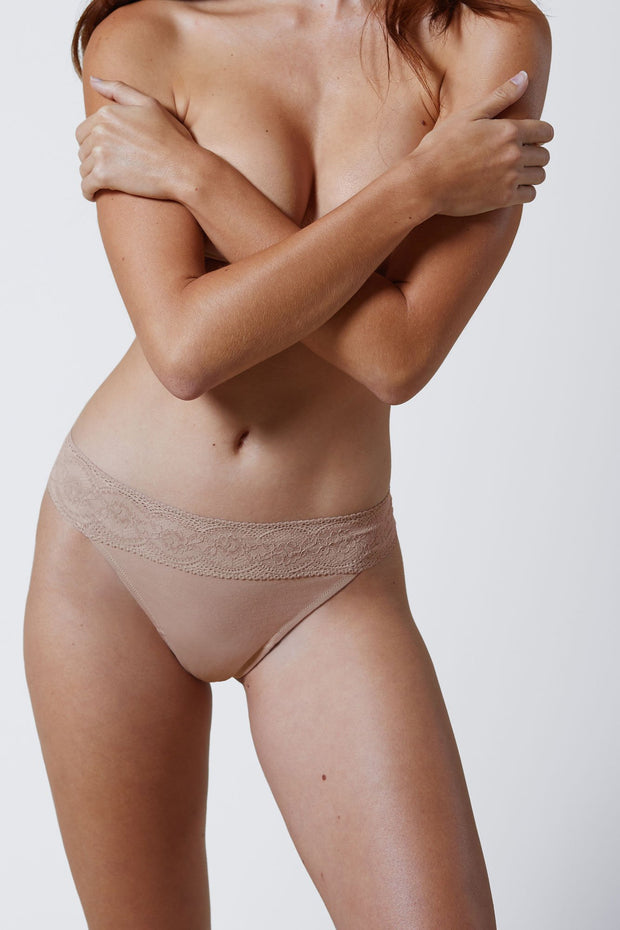 Petal One Size Cotton Thong in Cashmere Front View