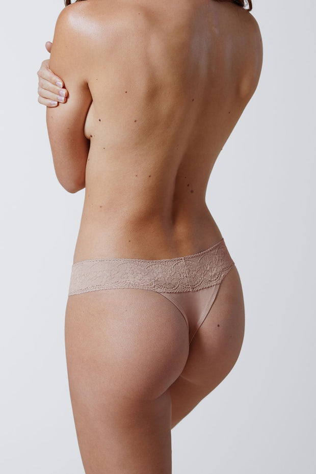 Petal One Size Cotton Thong in Cashmere Back View