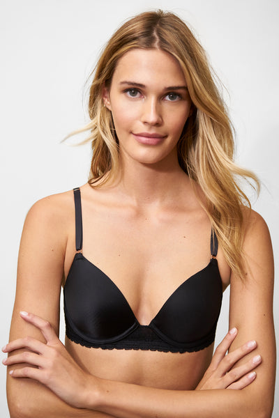 Bloom T-Shirt Bra in Black Front View