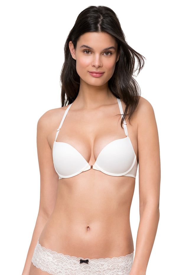 Minx Front Close Racerback Push-Up Bra in White Front View