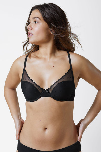 Siren T-Shirt Bra in Black Front View