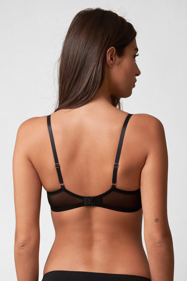 Amour T-Shirt Bra in Black/Terra Cotta Back View