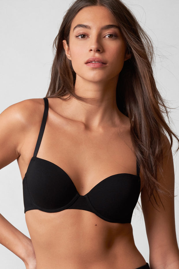 Fresh Multi-Way Cotton T-Shirt Bra in Black Front View