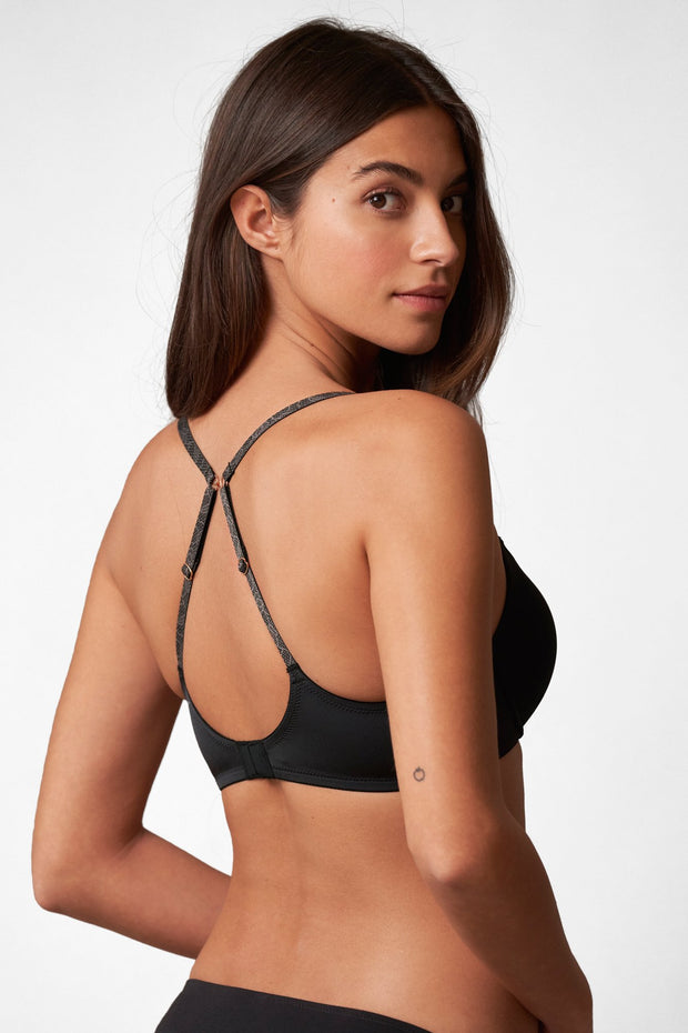 Glimpse Multi-Way Push-Up Bra in Black/Slate X-Back View