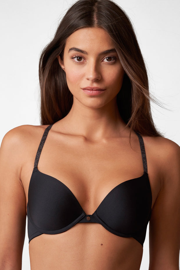 Glimpse Multi-Way Push-Up Bra in Black/Slate Front View