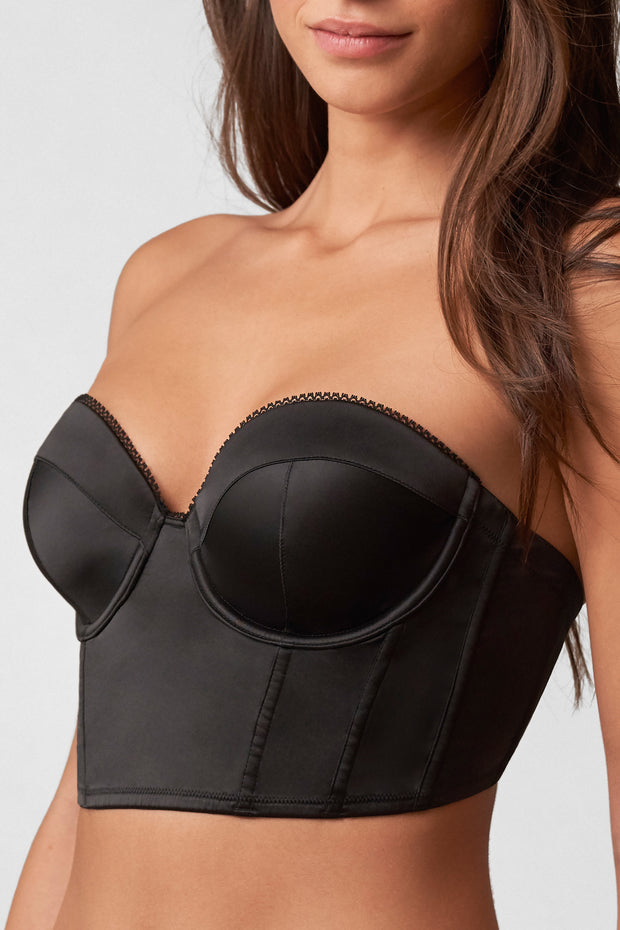 Rogue Low Back Bustier in Black Front View Close Up