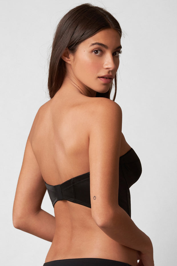 Rogue Low Back Bustier in Black Back View