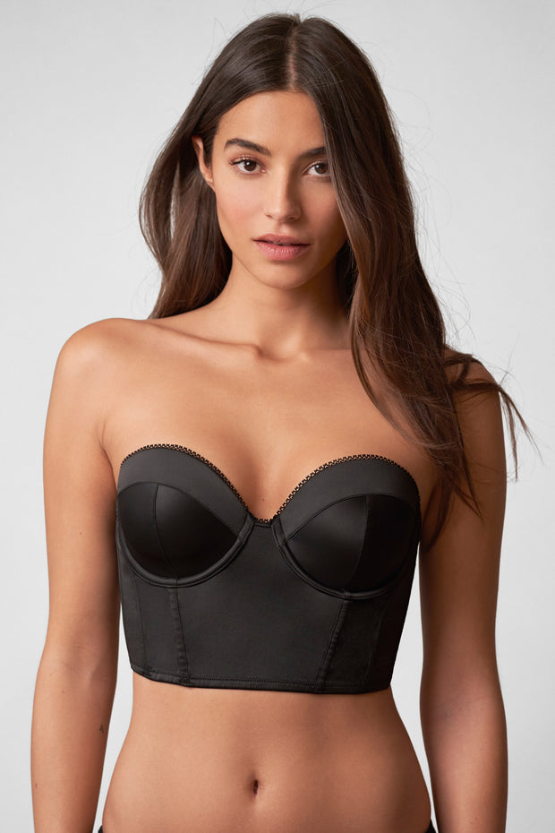 Rogue Low Back Bustier in Black Front View